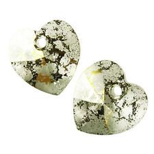 Swarovski : Heart 10mm : Crystal Gold Patina per pair