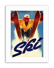 L'inverno Sci Neve Discesa Libera Slalom Sport POSTER STAMPE SU TELA ART