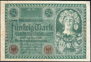 1920 50 Mark Germany Old Vintage Paper Money Banknote Currency Note XF
