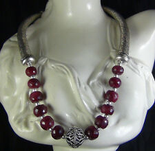 NATURAL RUBY FACETED BEADS NECKLACE  SHIPPING WORLDWIDE