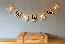 ❤️16th Birthday Bunting Banner. Vintage Hessian Burlap❤️