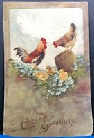 Easter Greetings Chickens 1910 Antique Postcard