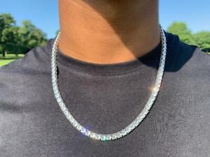 VVS1 Moissanite 3mm Tennis Chain Necklace White Diamond 925 Sterling Silver 42ct