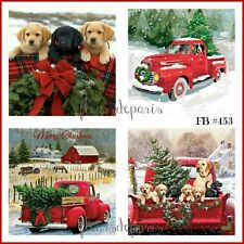 ~ Vintage Christmas Home for the Holidays Red Trucks 4 Prints on Fabric FB 453 ~