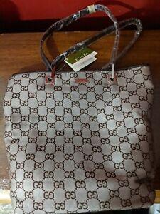 Gucci GG Monogram  Canvas Brown Leather Trim Tote Shoulder Handbag