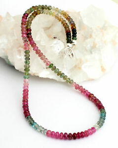 Natural Tourmaline Necklace Precious Stone Necklace Beads Necklace Colourful