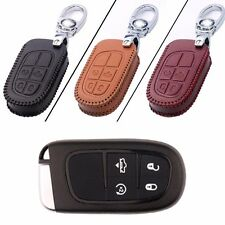 New Leather 4 Button Remote Key Bag Case Fob Holder Chain For Dodge Series
