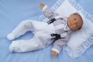 Baby Boy Formal Pageboy Outfit Little Gentleman Braces White Bodysuit Hat 0-18M