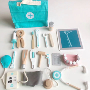 17 Stück Arztkoffer Kinder Holz Arzt Spielzeug Medizinisches Doktor Rollenspiele