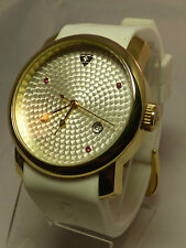 Swiss Legend PlaneTimer Gold Large 43mm Gemmed Dial White Silicone Band