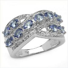 Real Diamond & Violet Tanzanite, Sterling Silver Gemstone Ring 1.7 CTW, Size 7