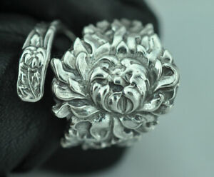 Beautiful 925 Sterling Silver Large Flower Spoon Ring