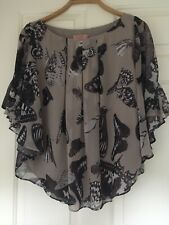 Ted Baker Grey Floaty Butterfly Print Batwing Top & Cardigan Size 1 & 2 (UK8-10)