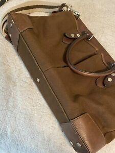 banana republic Canvas Leather Laptop Messenger Bag