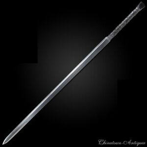 Rotary Forging Pattern Steel w Wolfram Gold Battle Sword Sharp Phurba Dorje#5401