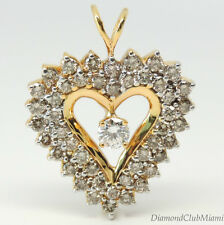 Modern 4.15ct Diamond 14K Yellow Gold Heart Pendant 8.6  Grams