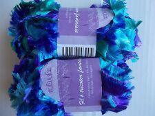 Tendance fancy knitting yarn, eyelash boa, blue/purple/green, lot of 2