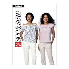 BUTTERICK SEWING PATTERN SEE & SEW MISSES' PULLOVER TOP SIZE 8 - 22 B6440