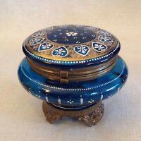 Moser Cobalt Blue Enameled Gilt Trinket Box