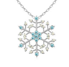 18K Gold GP Made With SWAROVSKI ELEMENTS CRYSTAL Large Blue Snow Flake Necklace