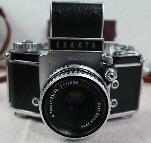 IHAGEE DRESDEN Kamera EXAKTA VAREX IIb 2 b mit TESSAR 2.8/50 und Zubehör um 1965