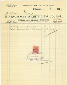 RHODESIA - 1909 account with 1d Arms overprint fiscally used (ME835)*