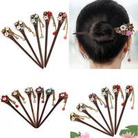 Women Vintage Wooden Hair Stick Chopsticks Hairpin Pin Handmade Rhinestone
