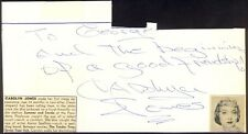 CAROLYN JONES - AUTOGRAPH NOTE SIGNED CO-SIGNED BY: LORI NELSON