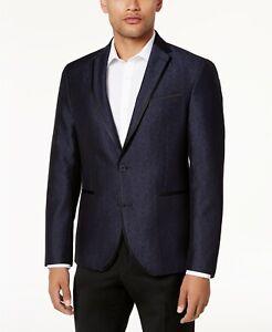 $295 Kenneth Cole Slim-Fit Navy Shine Dinner Jacket Sport Coat Mens 44L 44 NEW