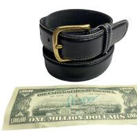 Unbranded Dress Belt Black Leather Contrast Stitching Gold-Toned Buckle Men's 40