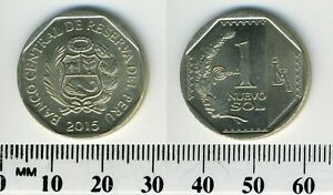 Peru 2015 - 1 Nuevo Sol Copper-Nickel-Zinc Coin - National arms within octagon