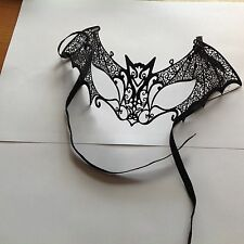 Masquerade Mask  Bat Black lace design made from  soft metal