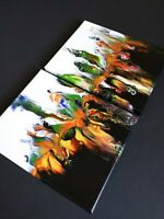 """TWO-PIECE PANEL ORIGINAL ARTWORK 10"""" x 16"""" CANVAS ABSTRACT ART ACRYLIC PAINTING"""