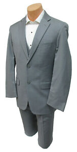 Men's Grey Perry Ellis Suit with Flat Front Pants & Vest Wedding Prom Church