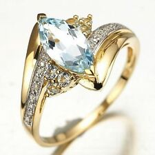 Nobby Size 6 Marquise Cut Halo Aquamarine Fashion 10K Gold Filled Womans Rings