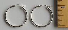 """925 Sterling Silver Hoop Earrings 1"""" inch Round 2 mm Thick  2.4 grams # 2"""