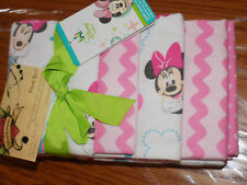 DISNEY BABY LOT 4 RECEIVING BLANKETS MINNIE MOUSE FLOWERS BUTTERFLIES FLANNEL