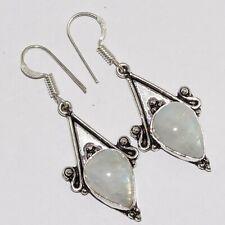 "Silver Plated Earrings 1.8"" Va-5208 Rainbow Moonstone 925"