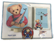 Rare Vintage Nos Blue Jean Teddy Bear Night Light and Switchplate Sealed B010