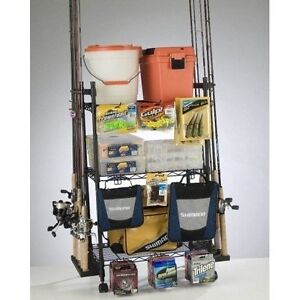 Fishing Rod Storage Rack Tackle Box Organizer Reels Bag Wire Trolley Cart Gear