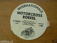 STICKER,DECAL INT. MOTOCROSS BOEKEL 7 APRIL 1958, UK,ZWEDEN,GERMANY,BELGIE,NEDER
