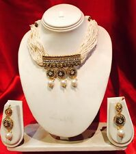 Bollywood Indian Bridal Necklace Earrings Jewellery Antique Gold Tone Pearls P27