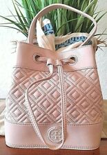 TORY BURCH MARION QUILTED MINI BUCKET LIGHT OAK LEATHER LAMB SKIN NWT + DUSTER