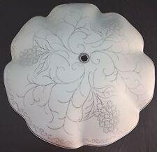 Vintage Ceiling Fixture Glass Lamp Shade Hyacinth Design Clear White Scallops