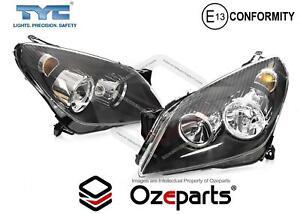 Set / Pair LH+RH Head Light Front Lamp Black For Holden Astra AH Series 04~10