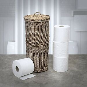 Natural Wicker Toilet Roll Paper Holder Stand Rustic Round Storage Loo Basket UK