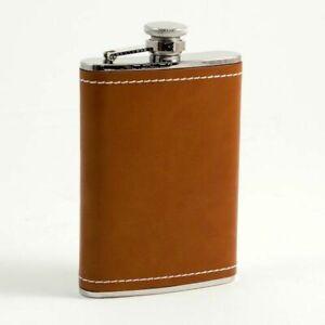 Bey Berk 8 Oz. Saddle Brown Leather & White Stitch Flask