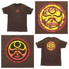 HAWAIIAN ISLAND CREATIONS Graphic Logo Brown-Yellow HIC Surf Shirt - Mens Large