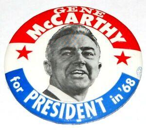 '68 EUGENE GENE MCCARTHY gene campaign pin pinback button political presidential