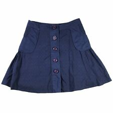 Anthropologie Odille Womens Eyelet Skirt Size 10 Blue Button Front A-Line Cotton